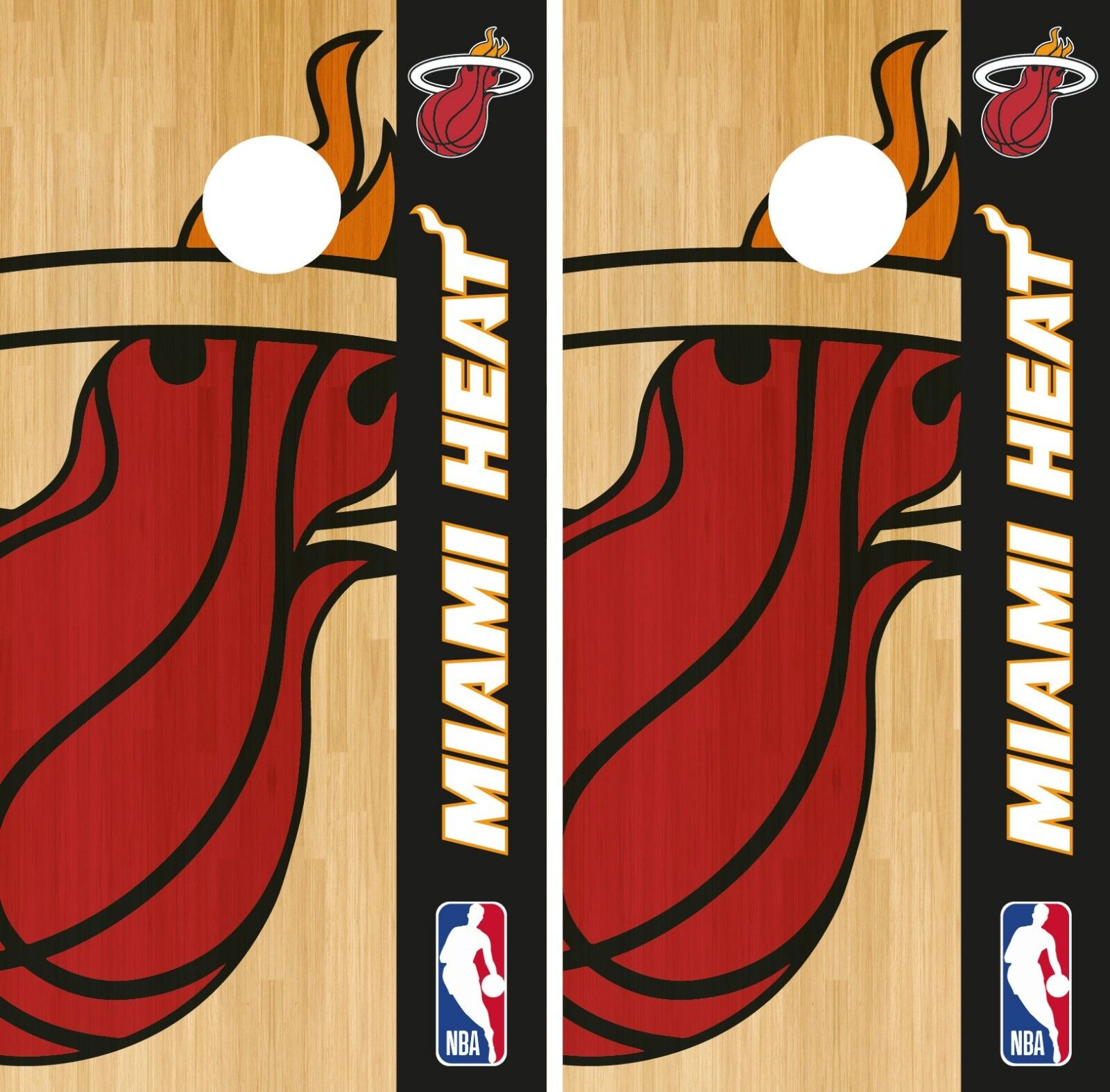 Miami  Heat Cornhole Wrap NBA Logo Game Skin Board Set Vinyl Decal CO643  80% off