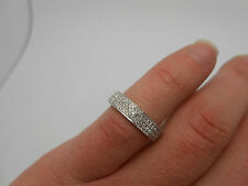 Stunning 750 18k White Gold Pave Set Diamond Full Eternity Band Ring Size 6