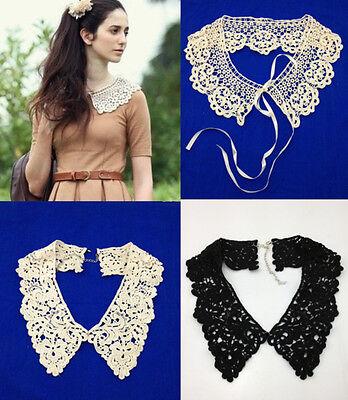 New Vintage Boho Lace Multi Detachable Collar Wrap Tie Necklace Choker Peter Pan