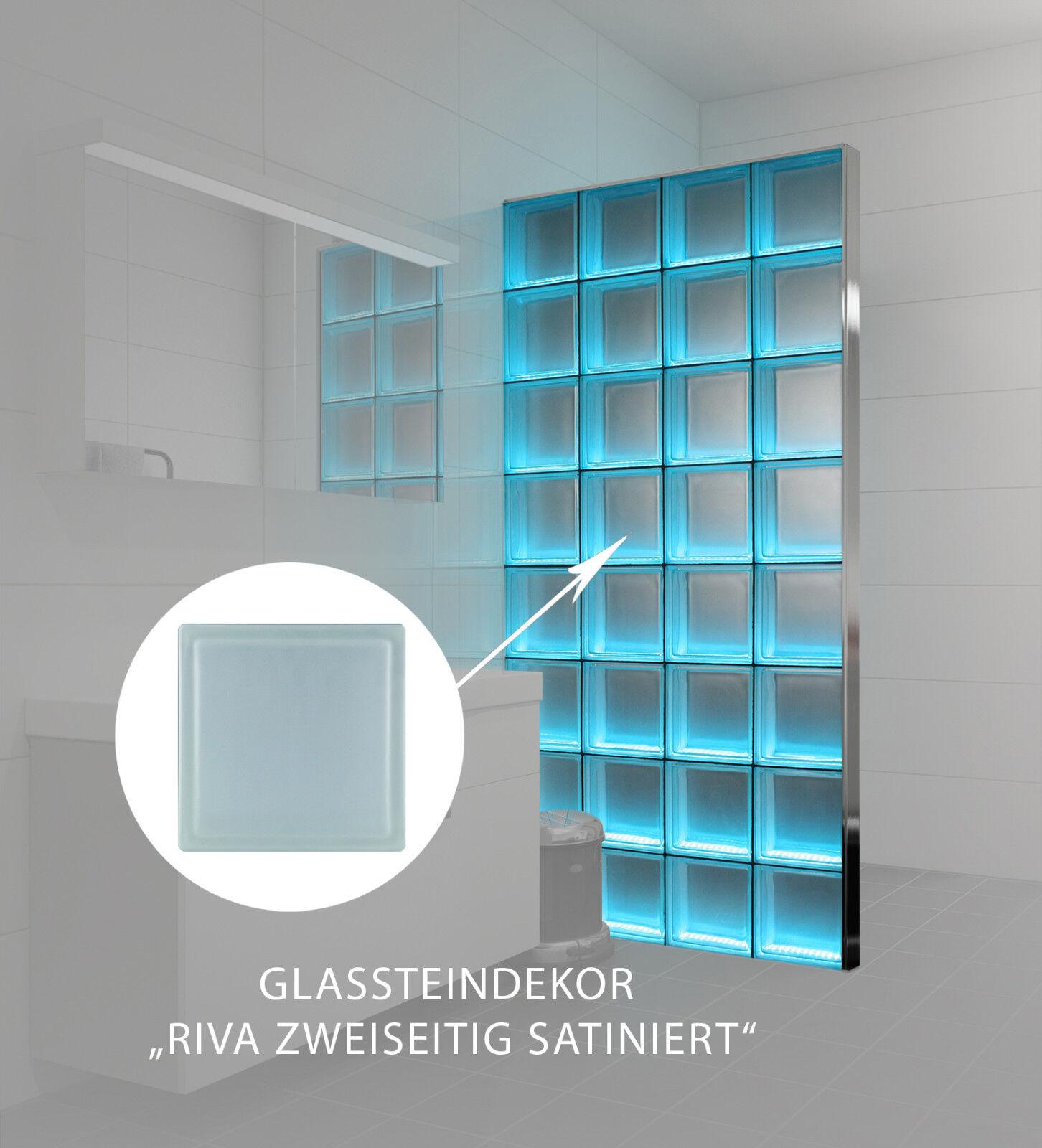LMW Light My Wall beleuchtete Glassteinwand Riva 2-seitig satiniert 24x24x8 cm