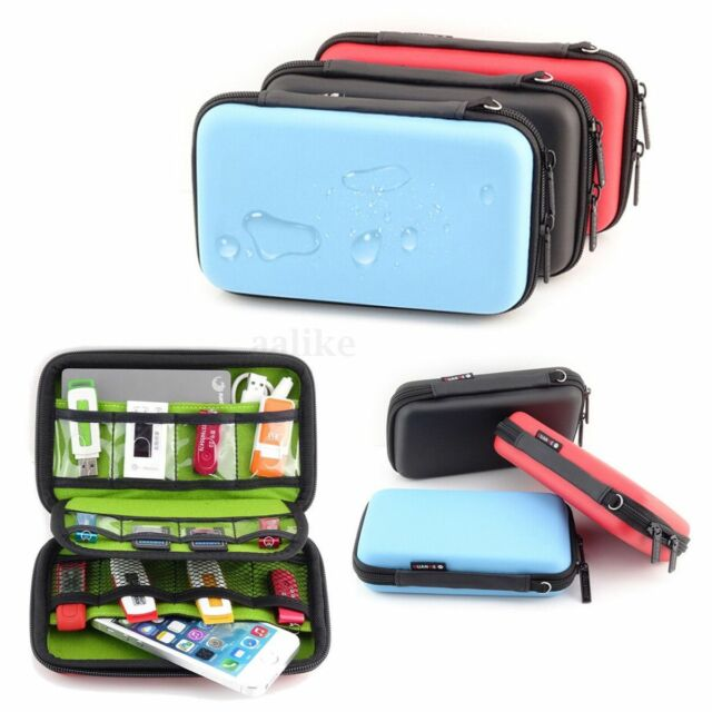Travel Cable Organizer Bag Hard Case USB Flash Drive Chargers Storage Protecter