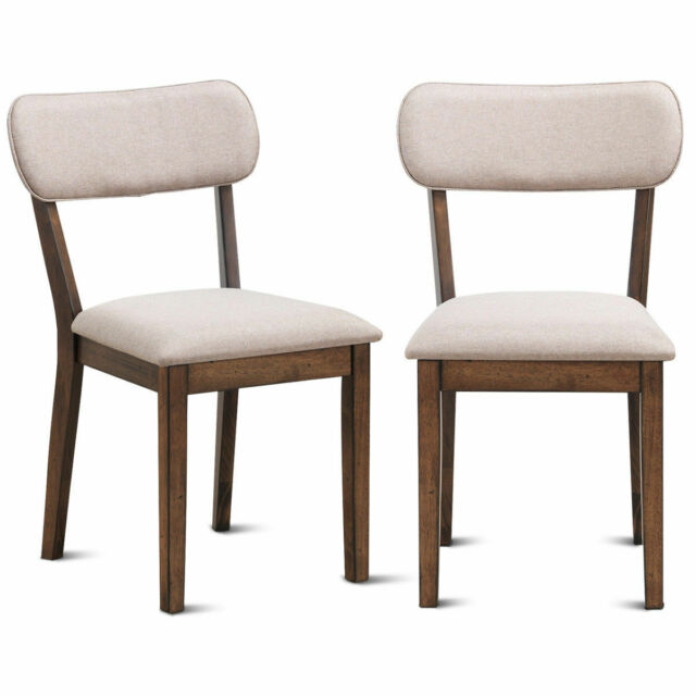Set Of 2 Dining Side Chairs Armless Fabric Upholstered Seat Wood Legs  Furniture
