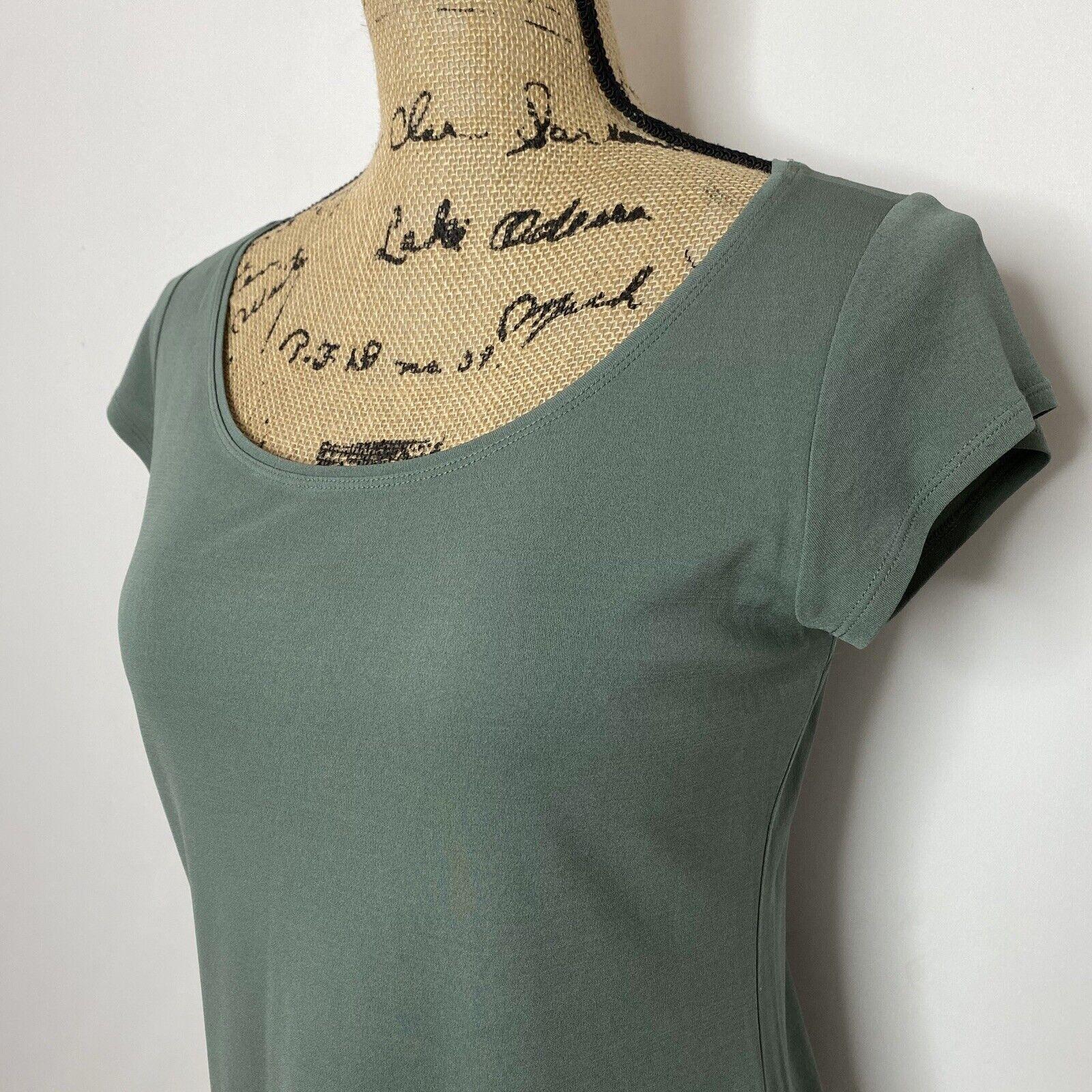 Eileen Fisher Silk Top XS Green Short Sleeve Shirt - image 2