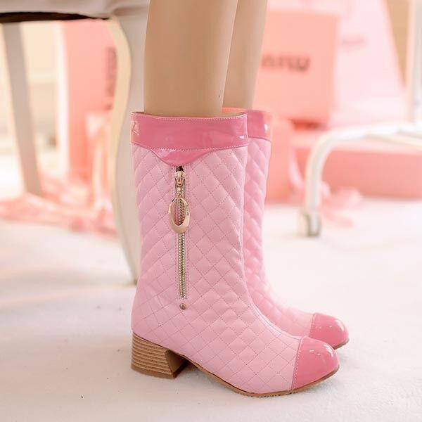 Stiefeletten stiefel schuhe regen frau absatz 4 simil leder komfortabel rosa