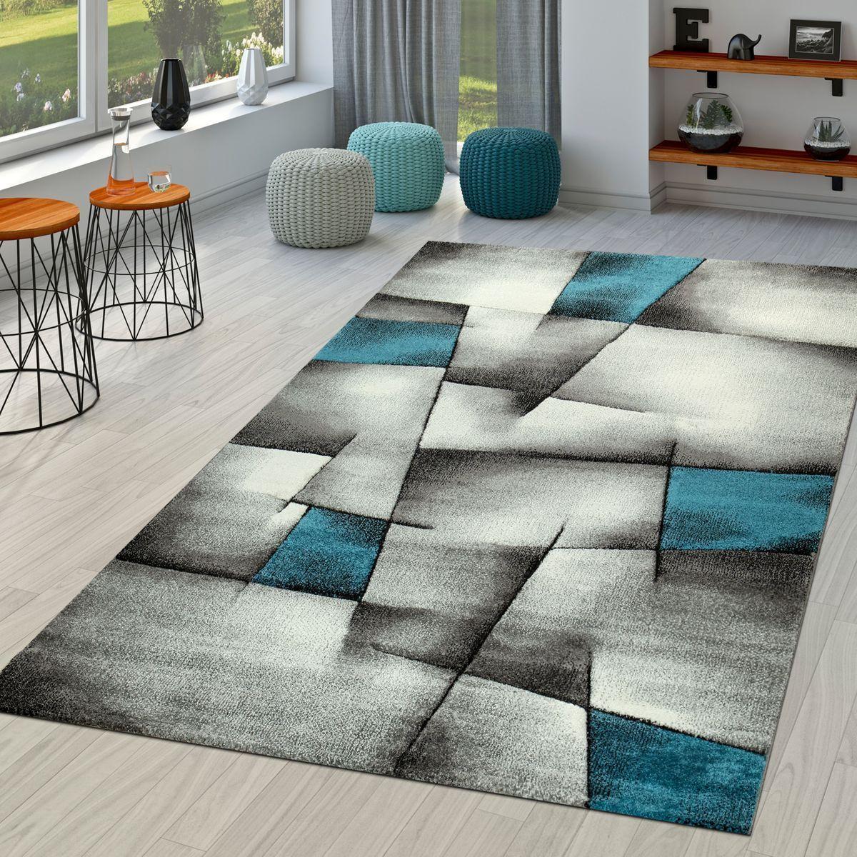 Kurzflor Teppich Modern Wohnzimmer Karo Design Konturenschnitt In Grau Türkis | Konzentrieren Sie sich auf das Babyleben