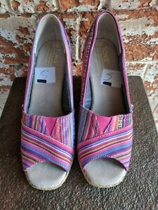 4941a655485 NEW Toms Cruz Striped Pink Woven Wedge Nordstrom Exclusive Canvas ...
