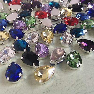 Mixed Colors Water Drop Point back Rhinestone Settings Claw Crystal Glass Sew On