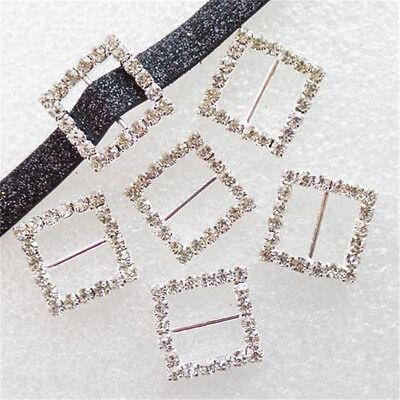 10 Pcs Square Rhinestone Buckle Invitation Ribbon Slider For Wedding Supplies