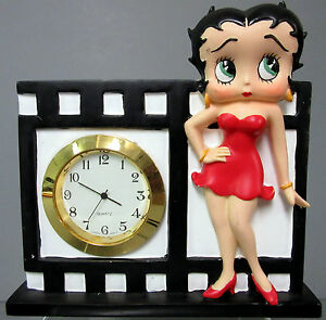 Details About New Betty Boop Film Shelf Desk Table Quartz Clock Red Dress