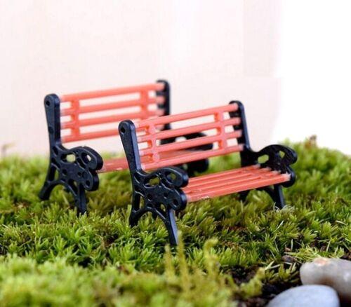 FD2164 Miniature Dollhouse Garden Craft Fairy Bonsai Plant Decor ~Park Chair~1pc