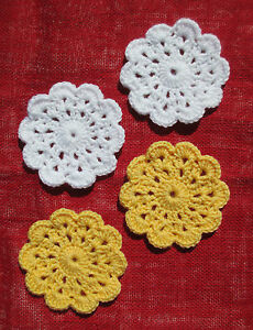 Hand-Crocheted Mini Doily Coasters, Daisy White, Sunny Yellow, Set of 4, NEW!!
