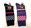 Men-039-s-Novelty-Racing-Stripes-Socks-2-colors-Violet-and-Black thumbnail 1