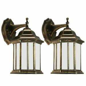 Outdoor-Exterior-Wall-Lantern-Light-Sconce-Porch-Lighting-Lamp-Fixture-Twin-Pack