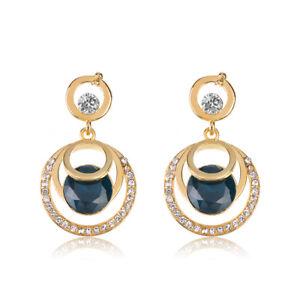 Fashion-Jewelry-Women-Crystal-Blue-Glass-Rhinestone-Dangle-Wedding-Stud-Earrings