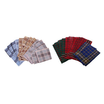 12x Mens Plaid HANDKERCHIEFS 100/% Cotton Wedding Party Hanky Hand Towel #1