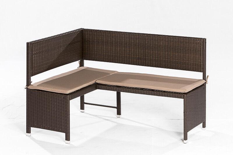 Eckbank Essecke Rattan GRAZ GRAZ GRAZ 148x100cm Stahl Geflecht braun mit Polstern beige 56fc90