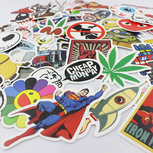 50 random stickers vinyl skateboard guitar travel case sticker pack decals cool