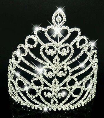 Attento Large Silver Plated Diamante Tiara Corona Nozze Pageant-mostra Il Titolo Originale