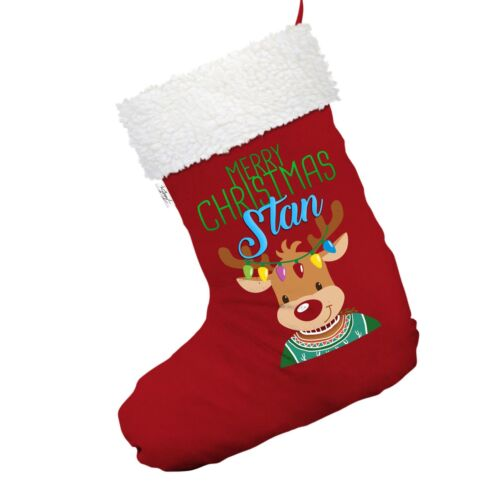 Personalised Christmas Reindeer Sweater Red Christmas Stocking With White Trim