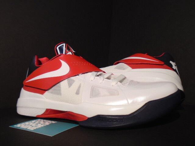 Nike Zoom KEVIN DURANT KD IV 4 OLYMPIC BIANCA OBSIDIAN BLU ROSSO 473679-103 10.5