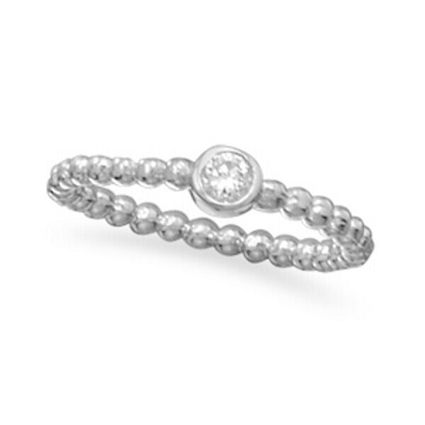 Rhodium Plated CZ with Beaded Band Ring .925 Sterling Silver Thin Round Circle