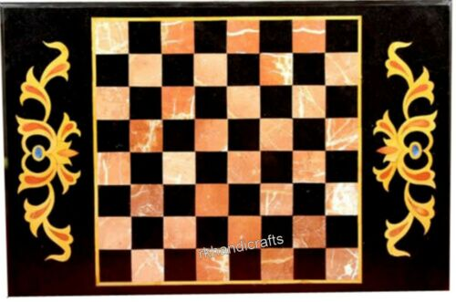 18 x 30 Inches Marble Sofa Table Top Inlay Center table with Unique Chess Design