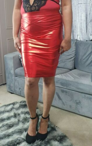 Midi Mini Skirt Women/'s Metallic Red Fitted Bodycon Fitted Pencil High Waist