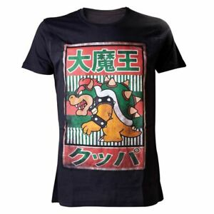 Homme Super Mario Bros Bowser Kanji T-Shirt-Nintendo Japonais Gamer Tee