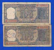 100 Rs x 2  DIAMOND ISSUE - L K JHA & P C BHATTACHARYA~1967,1968 ~RARE-USED