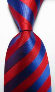 New-Classic-Striped-Red-Dark-Blue-JACQUARD-WOVEN-100-Silk-Men-039-s-Tie-Necktie