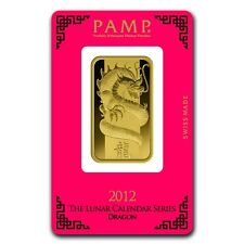 1 oz Pamp Suisse Year of the Dragon Gold Bar - In Assay Card - SKU #69642