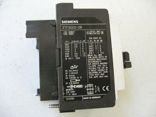 LOT//2* SIEMENS 3TF3000-0B CONTACTOR NON REVERSING 115-575VDC 600VAC 20A