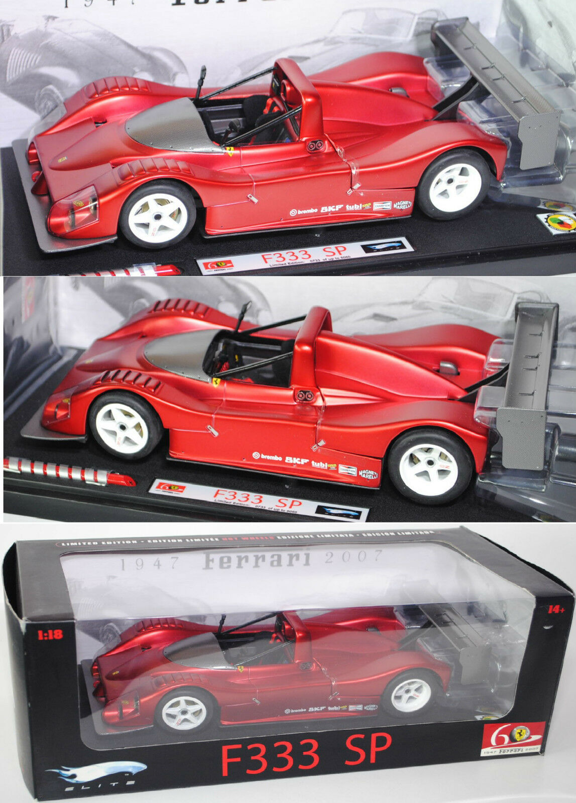 Elite l2975 Ferrari 333 SP, model 1994-2000, Red Metallic, 1 18, OVP