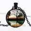 Mist Sunset Collier photo dôme en verre noir chaîne collier pendentif en gros