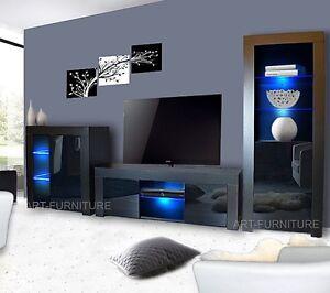 Living Room Set Matt Gloss Black Tv Unit Display Cabinet Cupboard