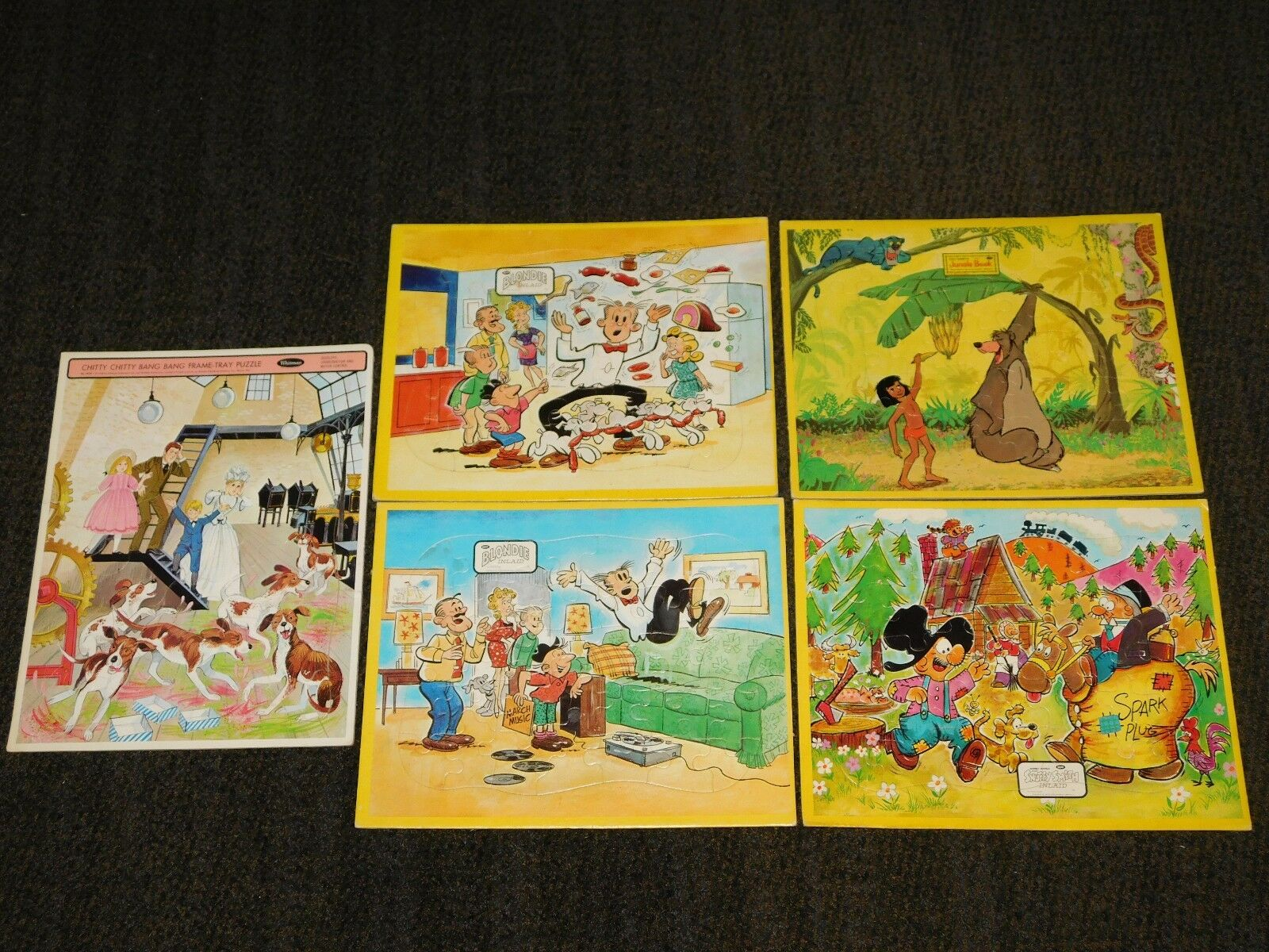 VINTAGE 14  X 11  5 OLD  PUZZLE GAMES JAYMAR BLONDIE JUNGLE BOOK SNUFFY SMITH +