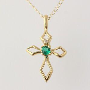 a49f0d6be95f54 NEW Emerald & Cubic Zirconia Cross Pendant Necklace 18