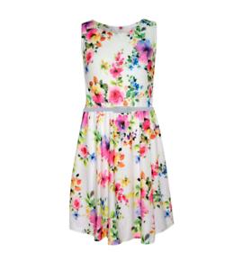 NEUF Filles Blanc Floral Patineuse Fête Robe d/'été ceinture âge 7 8 9 10 11 12 13