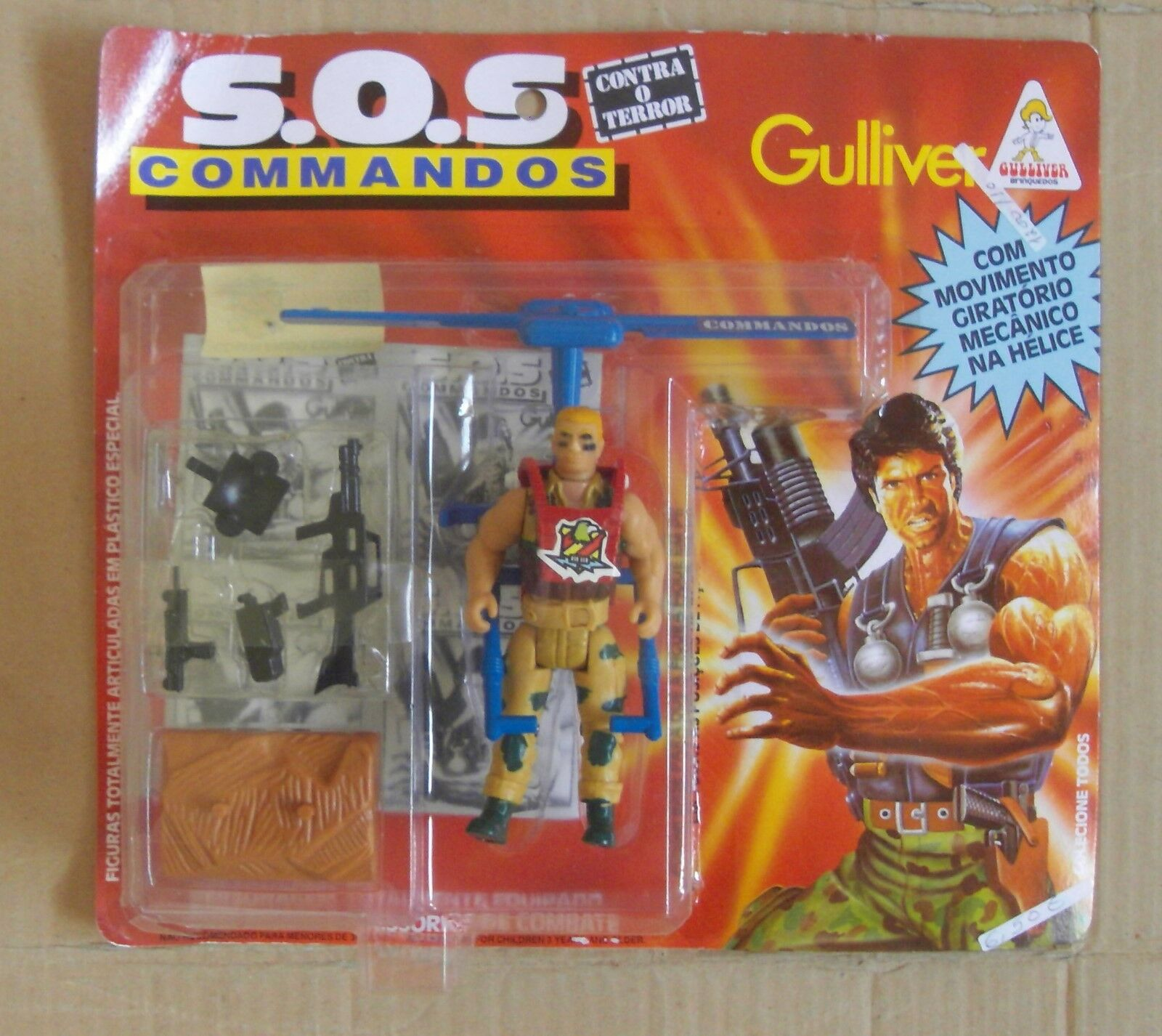 SOS COMMANDOS GULLIVER TOYS COMMANDO COPTER  FIGHTER MILITARY FIGURE PORTUGAL