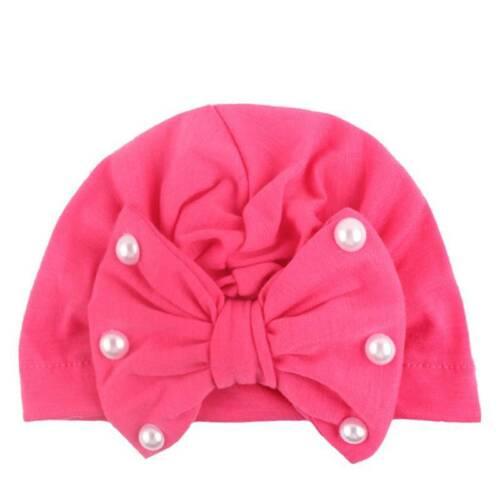 Toddler Kids Baby Girl Pearl Cotton India Bowknot Hat Beanie Turban Cap Headwear