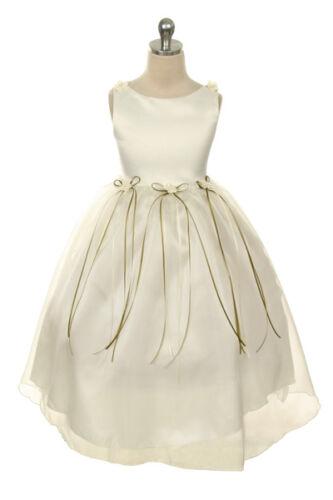 Elegant Formal Rosebud Flower Girl Dress Pageant Birthday Jr Bridesmaid Wedding