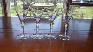 Vintage-Cut-Glass-Champagne-WIne-Glasses-Flutes-Starburst-Design-4-5oz-stems