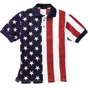 Mens Patriotic Polo American Flag Shirt in Classic USA Colors Red White /& Blue