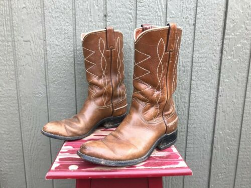 JUSTIN Cowboy Boots Mens 8.5 B Cognac Leather Whit