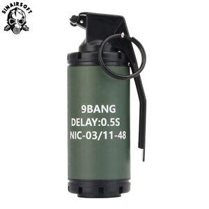 Airsoft Flash Bang/Stun Grenade (9 Bang) Plastic Toy Prop Roleplay