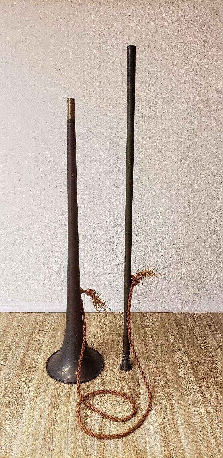 Vintage Copper & Brass 2 Piece Fox Hunting Horn Equestrian Bugle Trumpet 39.5
