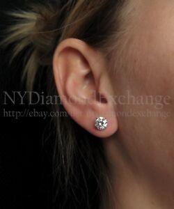 cb68aa1dc9b41 2.50ct Created Diamond Stud Earrings 14K Solid White Gold Round ...