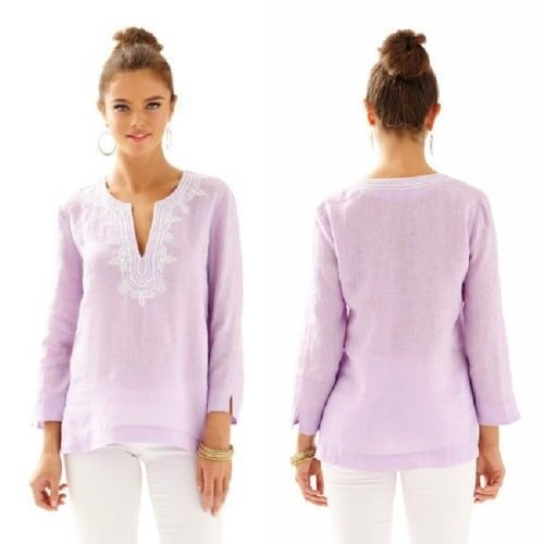 New Lilly Pulitzer Amelia Island Linen Tunic Blouse Top Iced purplec White S M