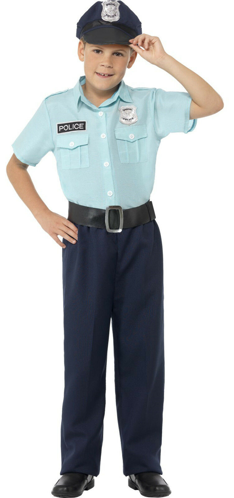 Smiffys US American Police Cop Boys Kids Child Fancy Dress Costume Blue Shirt