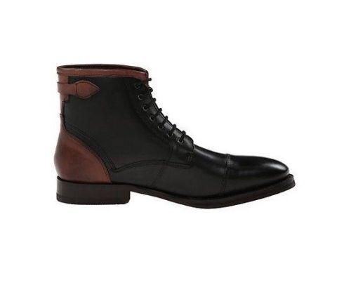 men Fatto A Mano Pelle shoes brown & black Alto Caviglia Stivali